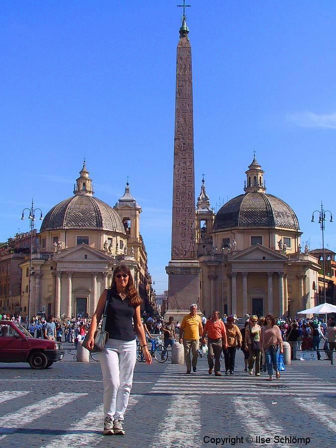 Italien, Rom, Obelisk Flaminio auf der Piazza del Popolo