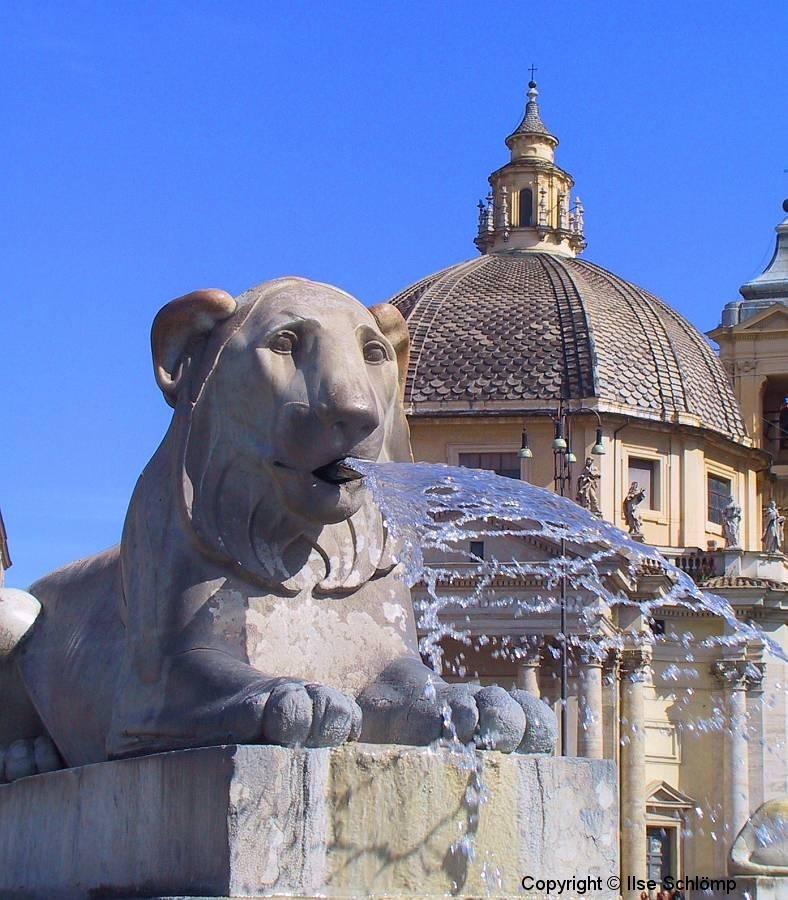 Italien, Rom, Piazza del Popolo, Löwenbrunnen