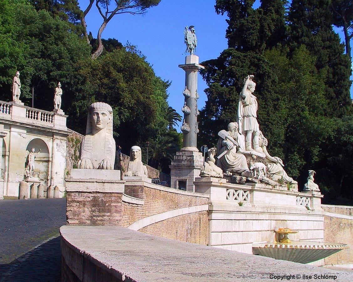 Italien, Rom, Fontana della Dea Roma auf der Piazza del Popolo