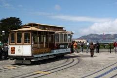 San Francisco, Cable Car auf dem Wendeplatz