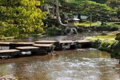 Japan, Kanazawa, Kenroku-en-Garten, Brücke der fliegenden Wildgänse