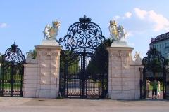 Wien, Schloss Belvedere, Haupttor zum Oberen Belvedere mit Löwen