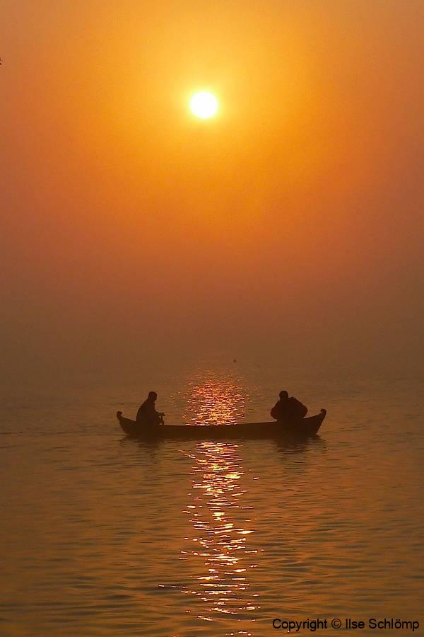 Myanmar, Sonnenuntergang auf dem Irrawaddy