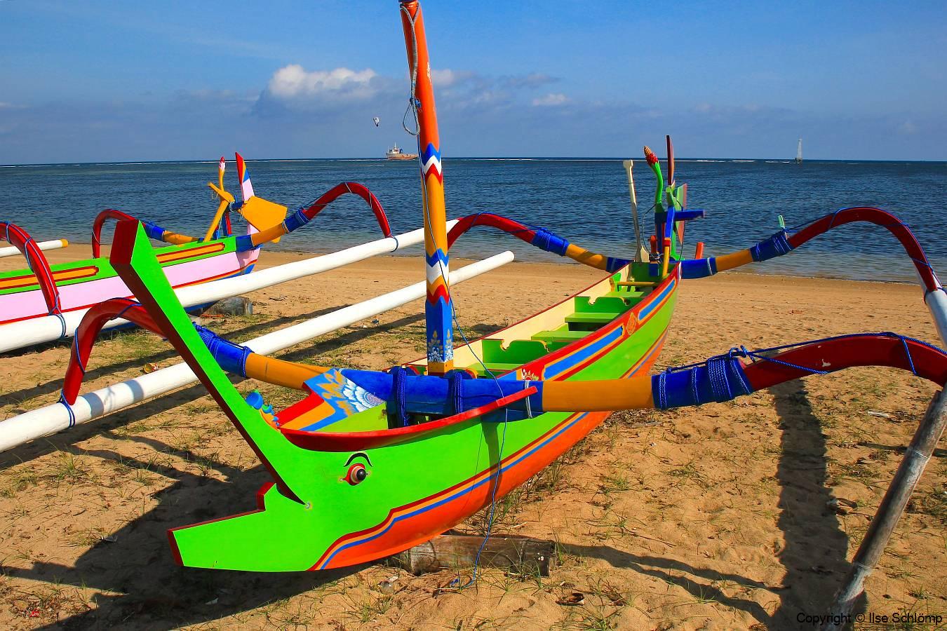 Bali, Sanur, Traditionelles Auslegerboot