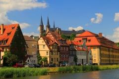 Bamberg, Blick von der Regnitz auf das Kloster Michaelsberg