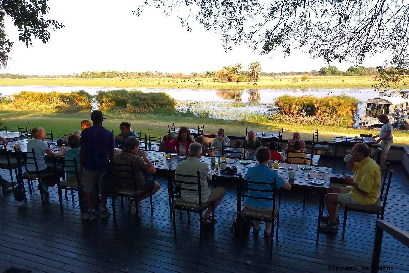 Botswana, Maun, Frühstück in der Thamalakane River Lodge