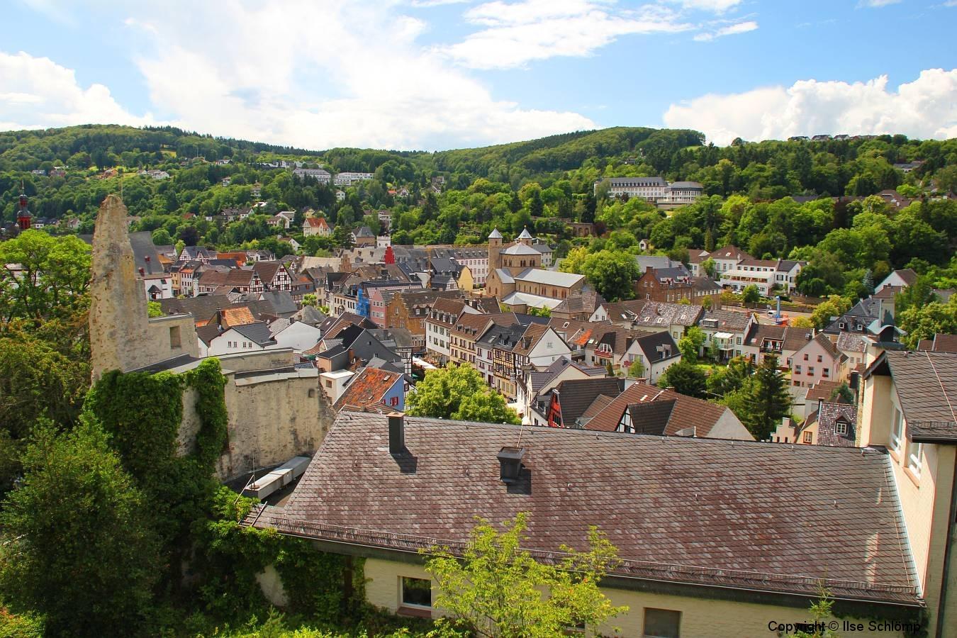 Blick von der Burg Münstereifel auf Bad Münstereifel, Nordrhein-Westfalen