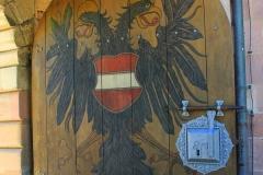 Nürnberger Burg, Nürnberg, Bayern, Burgtor mit dem doppelten Adler