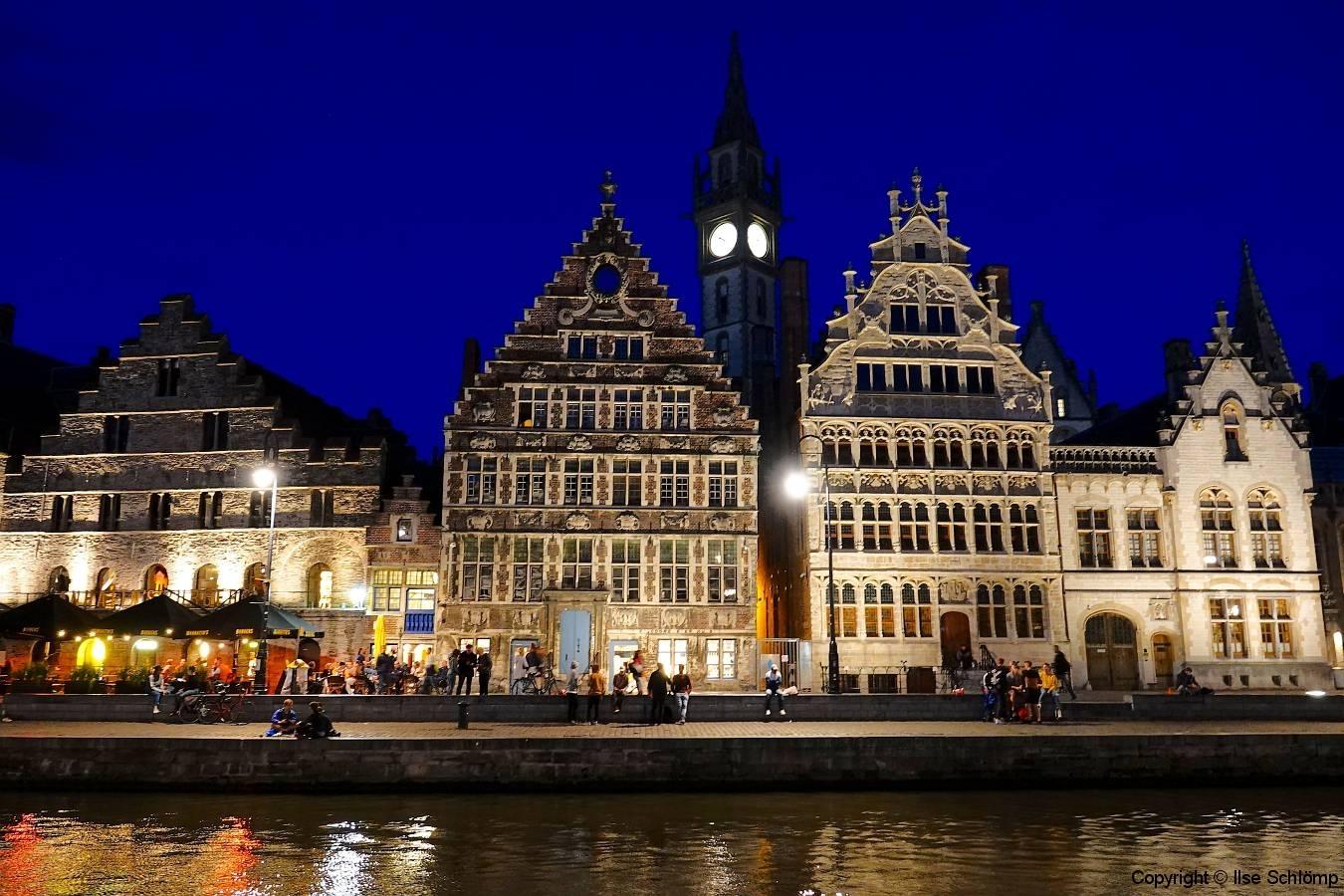 Belgien, Gent, Graslei bei Nacht