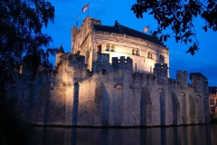 Belgien, Gent, Burg Gravensteen bei Nacht