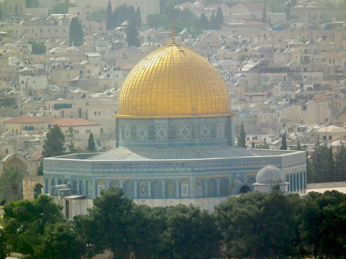 Israel, Jerusalem, Blick vom Ölberg auf den Felsendom