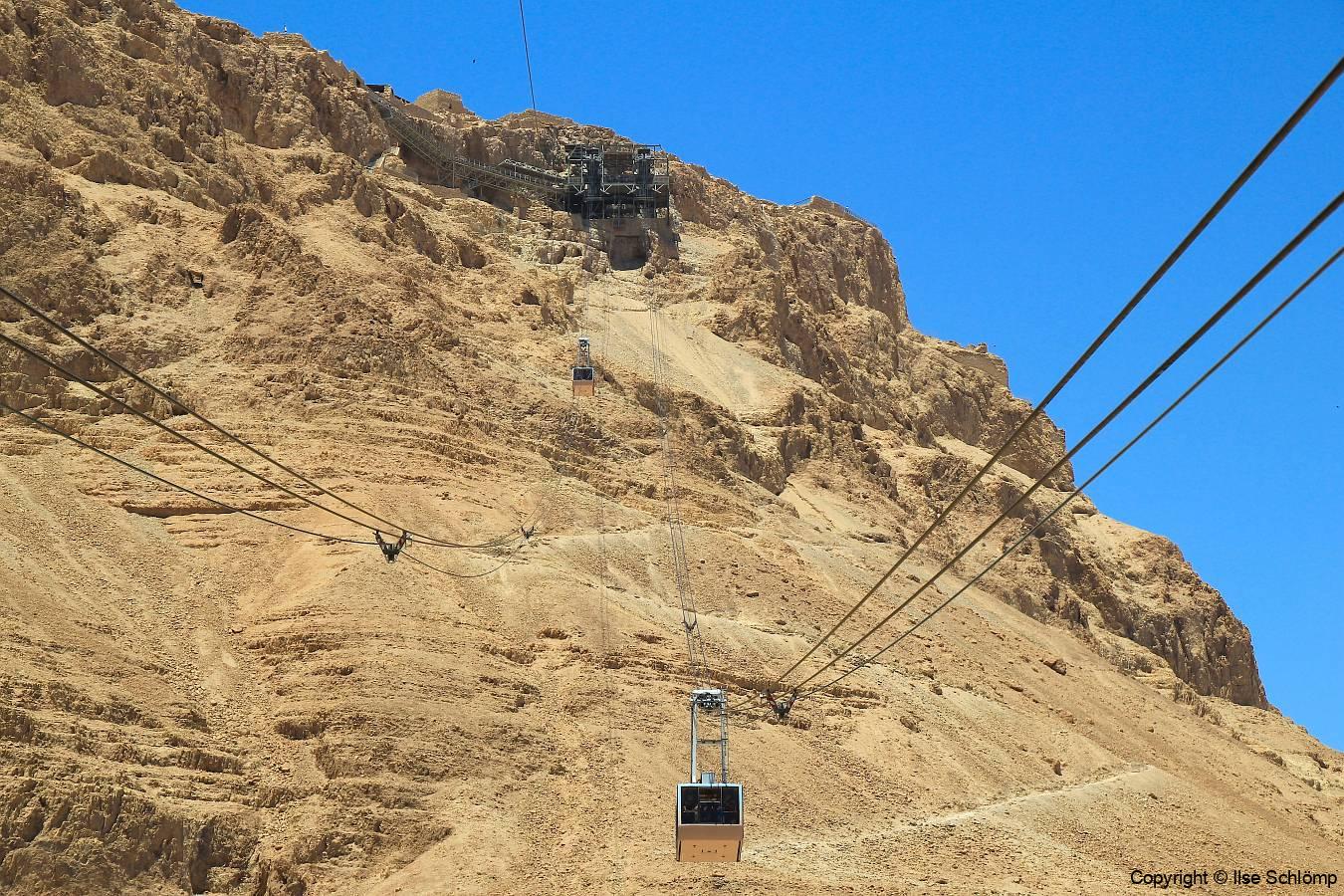 Israel, Masada, Mit der Seilbahn auf die Festung