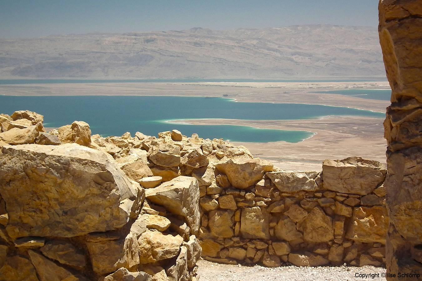 Israel, Masada, Blick von Masada auf das Tote Meer