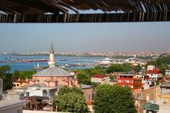 Istanbul, Blick von der Hoteldachterrasse auf den Bosporus