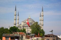 Istanbul, Blick von der Hoteldachterrasse auf die Blaue Moschee