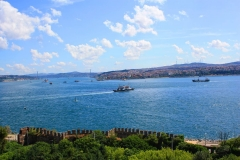 Istanbul, Blick vom Topkapi-Palast auf den Bosporus