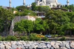 Istanbul, Blick von der Theodosianischen Seemauer auf die Blaue Moschee