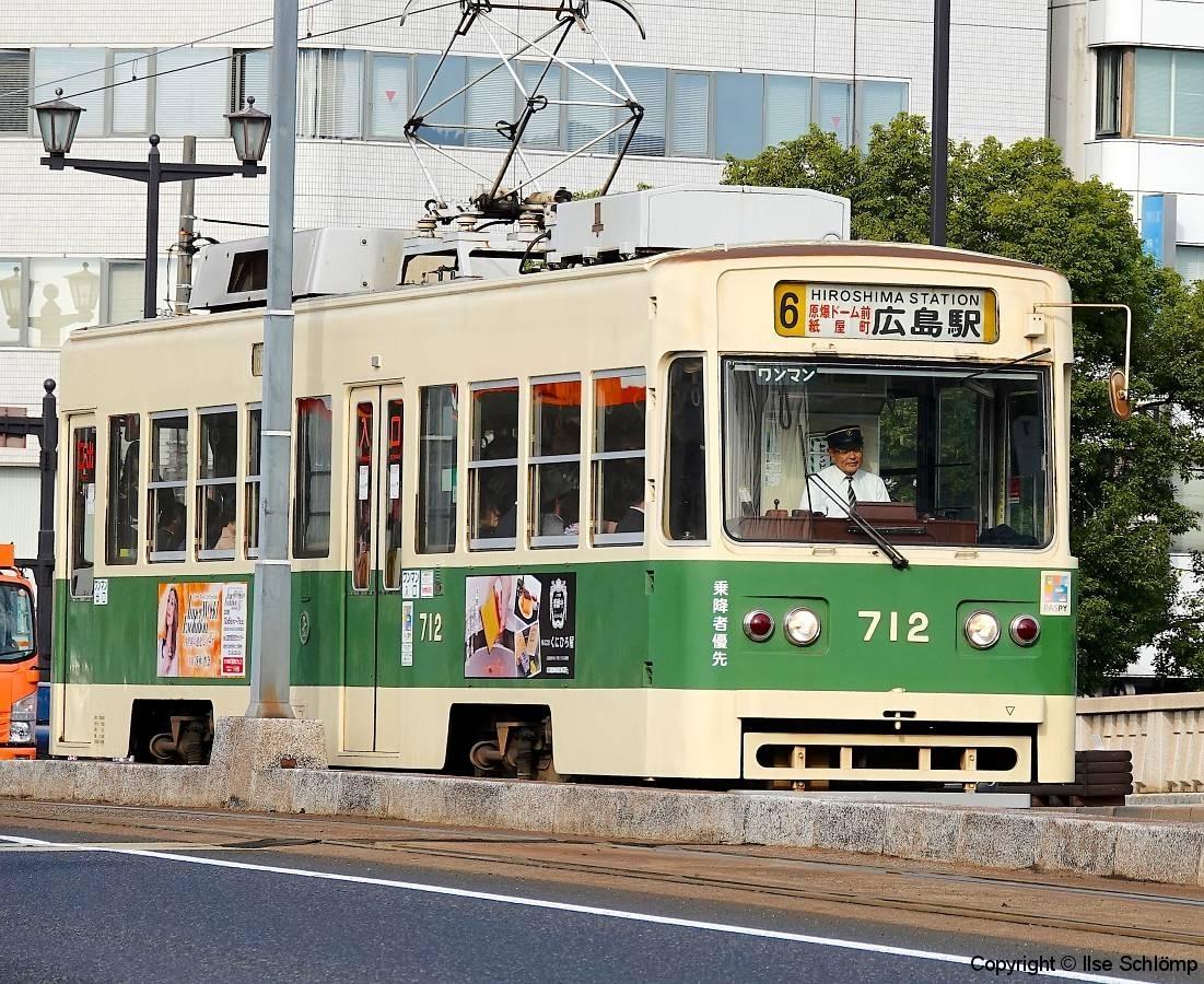 Japan, Hiroshima, Straßenbahn