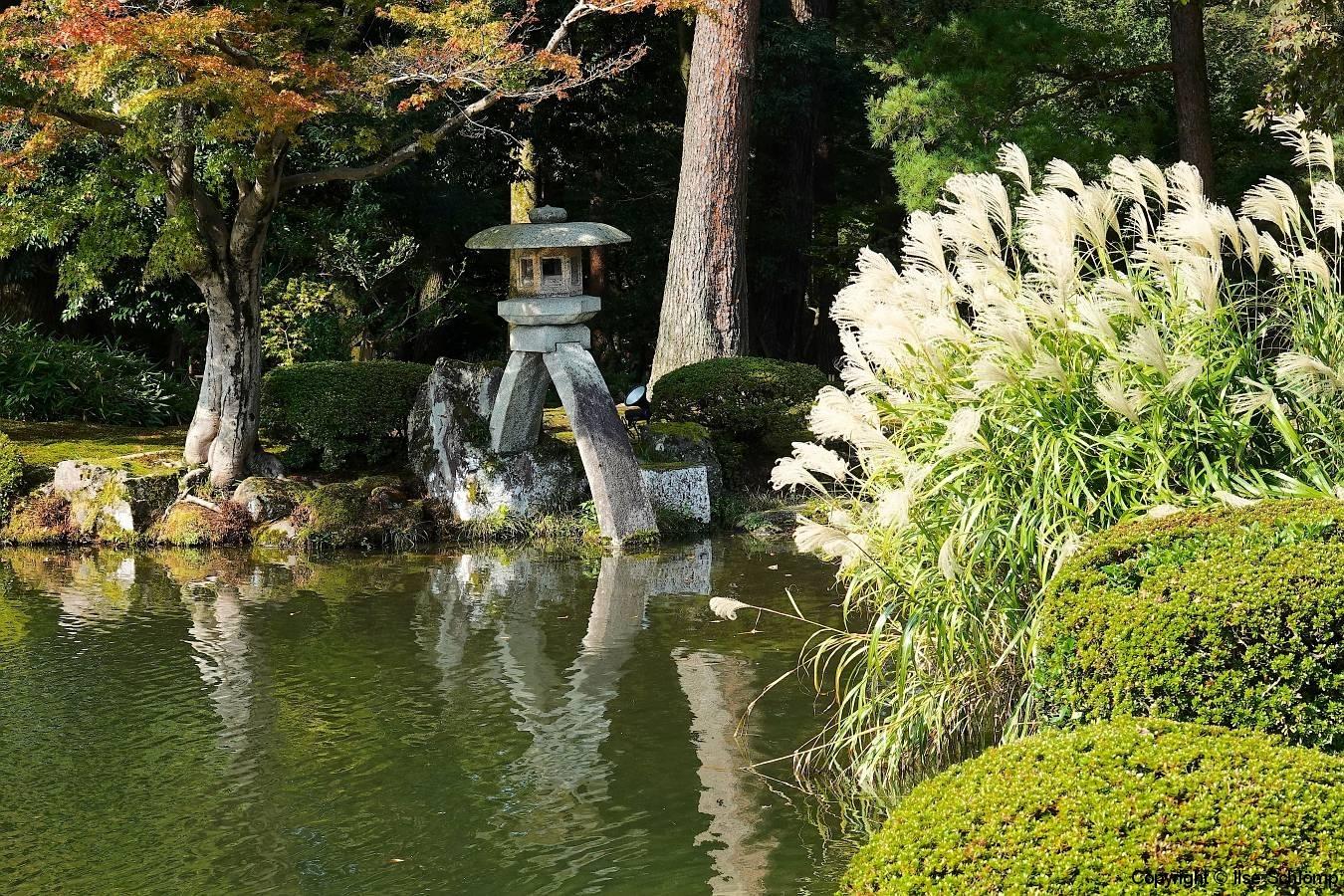 Japan, Kanazawa, Kenroku-en Garten, Kotoji-Laterne, Kasumi-Teich