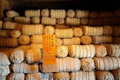 Japan, Takayama Jin'ya, Altes Regierungsgebäude, Stroh-Reissäcke für Steuer