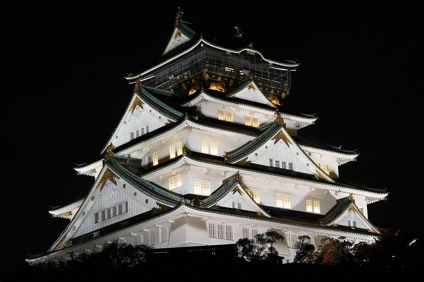 Japan, Osaka, Burg Osaka bei Nacht