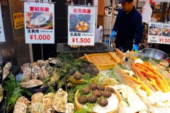 Japan, Osaka, Kuromon Market, Austern und Seeigel