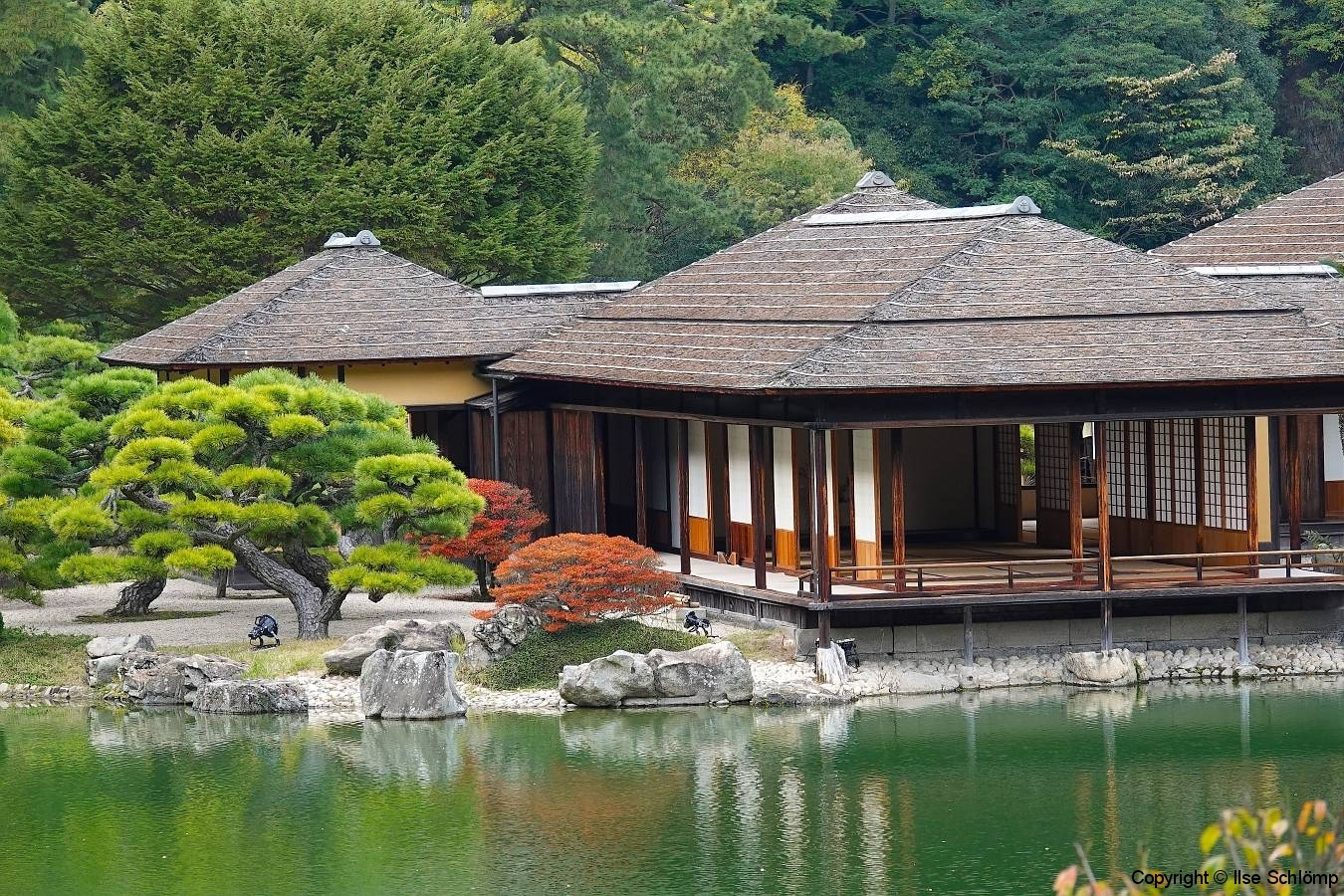 Japan, Takamatsu, Ritsurin-Koen Wandelgarten, Kikugetsu-Pavillon