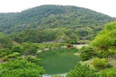 Japan, Takamatsu, Ritsurin-Koen Wandelgarten vor dem Berg Shiun