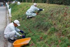 Japan, Takamatsu, Ritsurin-Koen Wandelgarten, Gärtner bei der Arbeit