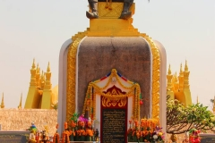 Laos, Vientiane, That Luang, Statue König Setthathirat