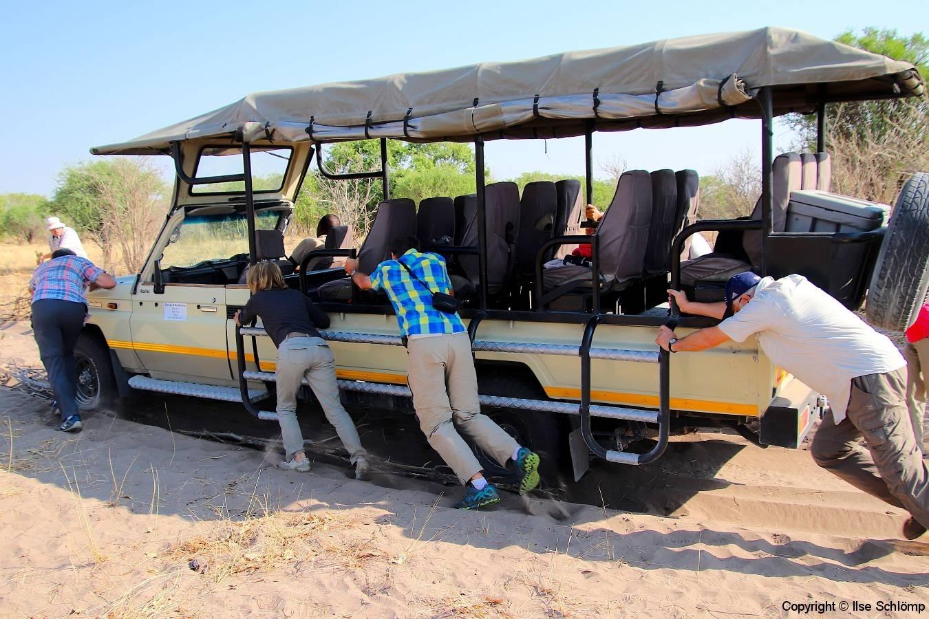 Botswana, Moremi Nationalpark, Wir stecken fest