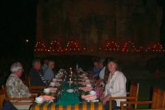 Myanmar, Bagan, Thazin Garden, Abendessen an einem stimmungsvoll beleuchteten Tempel