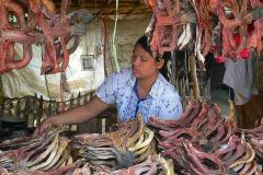 Myanmar, Unterwegs auf dem Weg nach Bago, Trockenfisch-Verkaufsstand