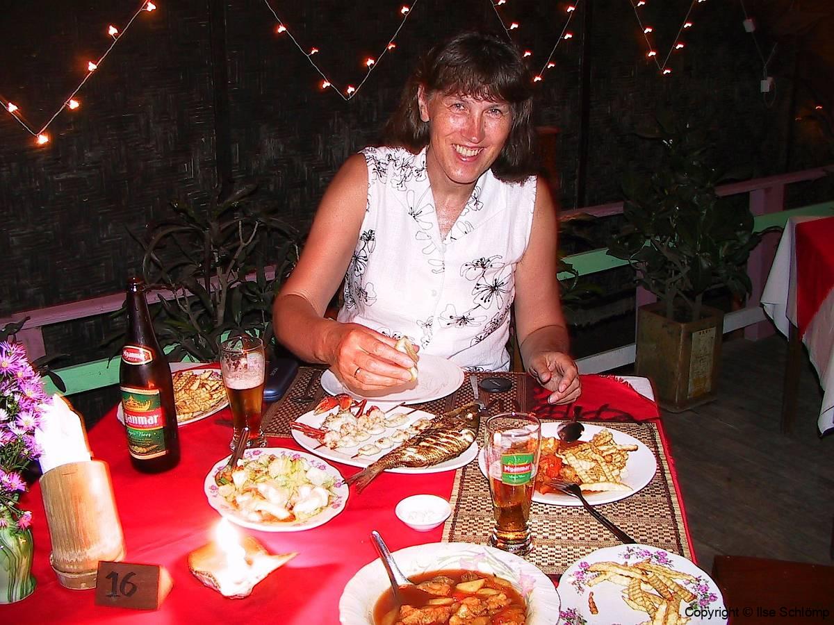 Myanmar, Ngapali Beach, Abendessen bei Best Friend
