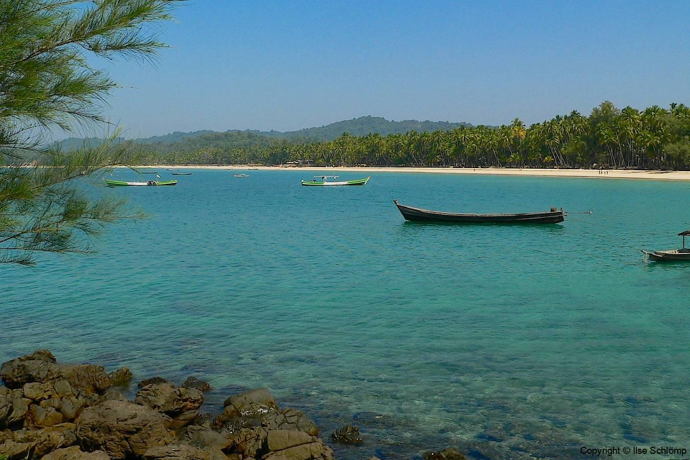 Myanmar, Ngapali Beach, Blick vom Kap auf Ngapali Beach