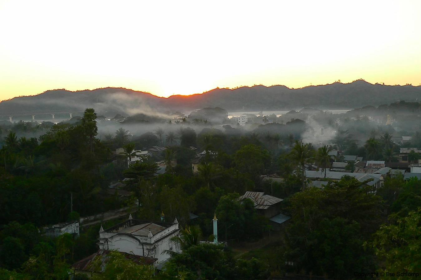 Myanmar, Pyay, Abendstimmung, Blick von der Shwesandaw Pagode