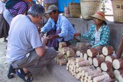 Myanmar, Pyay, Wir kaufen Thanaka ...