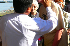 Myanmar, Pyay, ...und benutzen Thanaka als Sonnenschutz