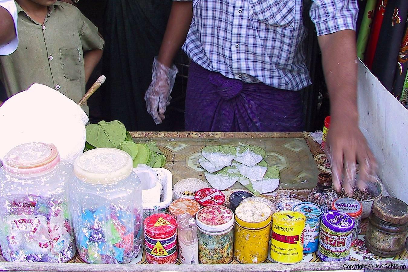 Myanmar, Region Yangon, Markt, Betelnuss-Verkaufsstand