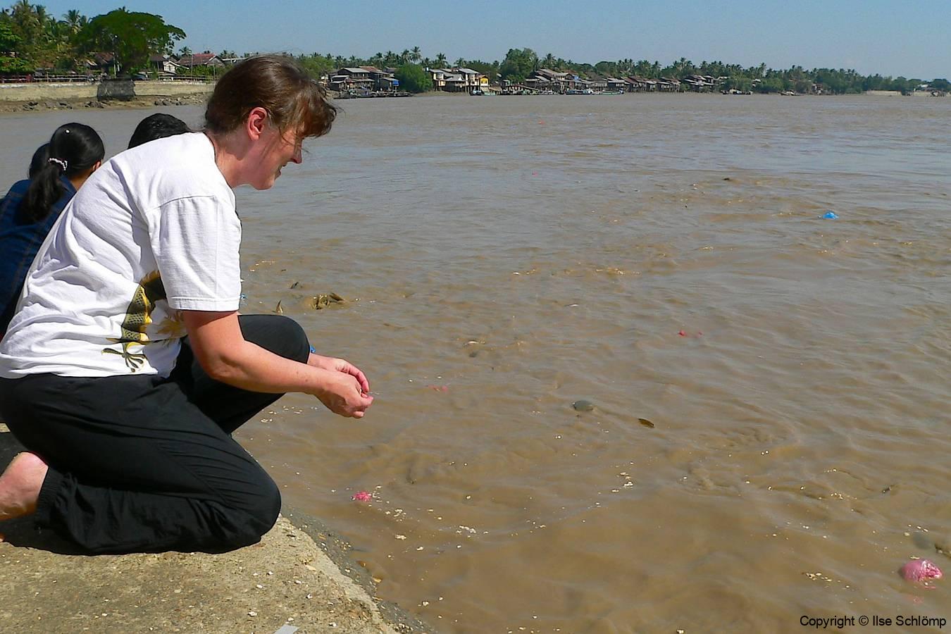 Myanmar, Kyauktan, Wir füttern Welse im Fluss
