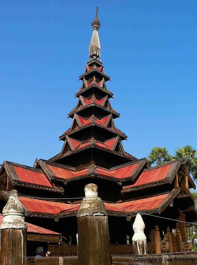 Myanmar, Bagaya-Teakholzkloster in Inwa