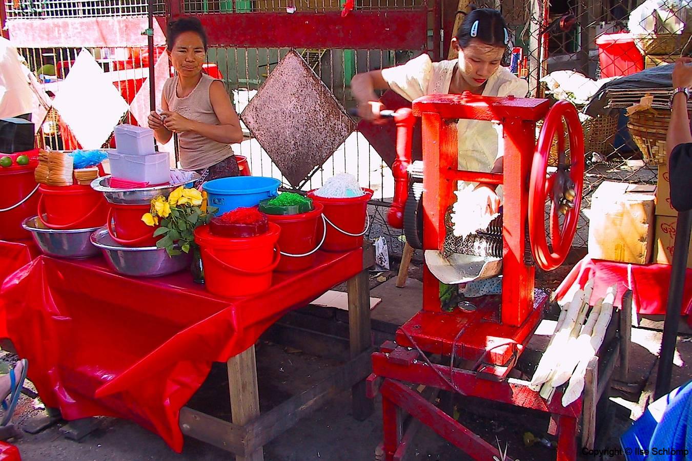 Myanmar, Yangon, Zuckerrohrpresse