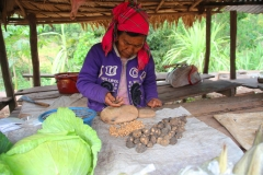Laos, Oudomxay, Marktstand am Straßenrand, Nüsse
