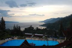 Sumatra, Abendstimmung am Toba-See, Blick vom Niagara Hotel in Parapat