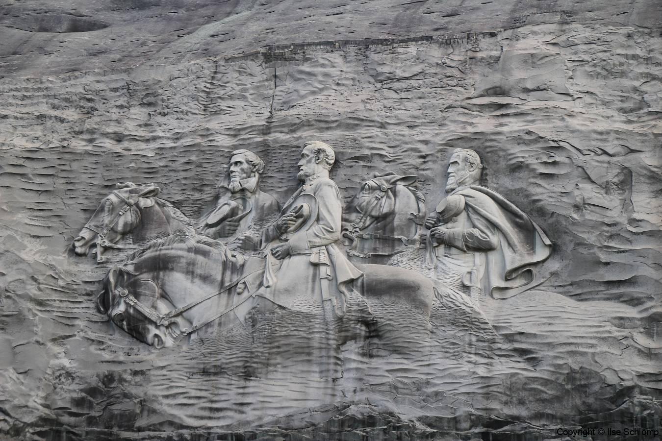USA, Georgia, Atlanta, Stone Mountain, Das Relief mit Präsident Jefferson Davis und die Generäle Thomas Jackson und Robert E. Lee