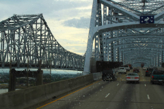 USA, Louisiana, New Orleans, Mississippi River, Crescent City Connection Bridge