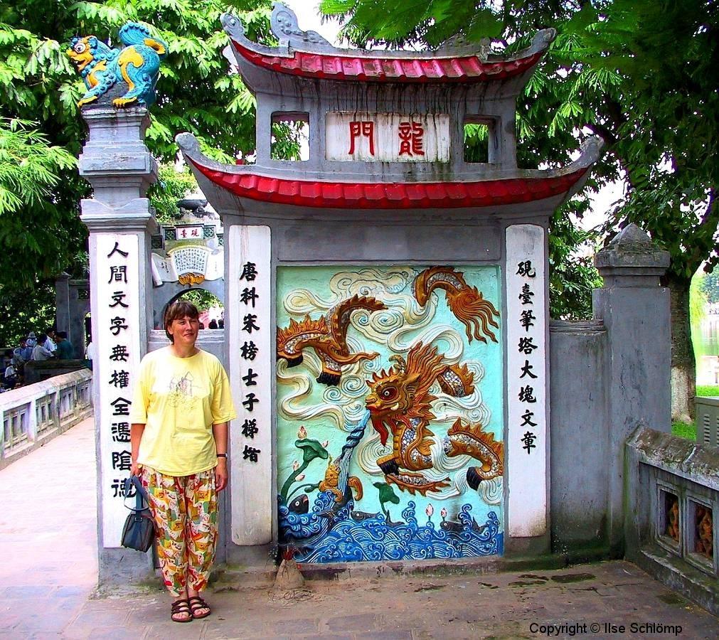 Hanoi, Hoan-Kiem-See, Eingang zum Jadebergtempel