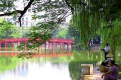 Hanoi, Hoan-Kiem-See, Die Huc-Brücke (Brücke der aufgehenden Sonne)